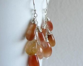 Orange Wire Wrapped Earrings - Honey Rutilated Quartz Jewelry - Long Dangle Earrings - Long Layer Earrings 5