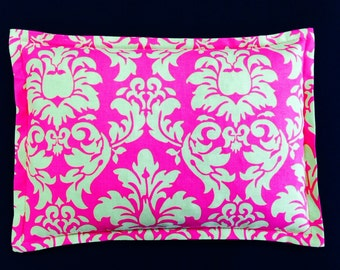 Medium Corn Heating Pad, Microwave Corn Bag, Spa Relaxation Gift, Bridesmaid Gift, Massage Therapy, Heated Pillow - Hot Pink / Lime Damask
