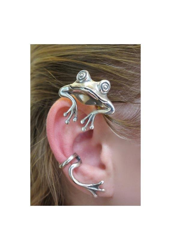Frog Earring Silver Frog Ear Wrap Frog Ear Cuff - Curious Frog Ear Wrap - Frog Jewelry Silver Frog Non Pierced Ear Cuff Non Pierced Earring