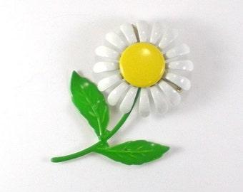 Enamel Flower Brooch Pin -  White Yellow Green Brooch - Vintage jewelry