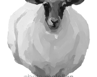 White Sheep - Graphic Style - Paper - Canvas - Wood Block