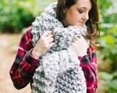 Oversized Traditional Knit Scarf // Super Bulky Grey Knit Open Ended Scarf // Unisex Huge Winter Scarf
