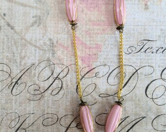 Gold Chain and Wire Wrapped Pink Beaded Necklace