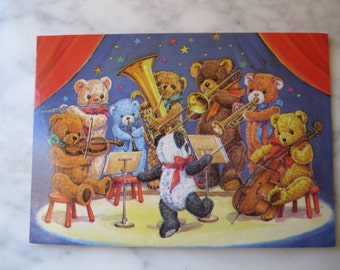 "Vintage Medici Society Postcard. Signed Audrey Tarrant. ""Teddy Bear Band."