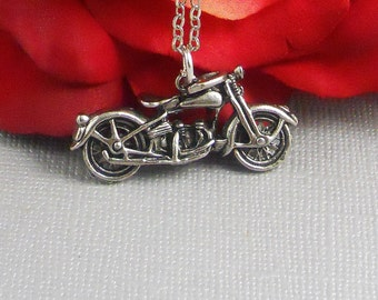 Motor Cycle, Biker, Silver Motor Cycle, Motorcycle, Harley davidson, Rider, Bike, Pewter, White Gold Plated Necklace