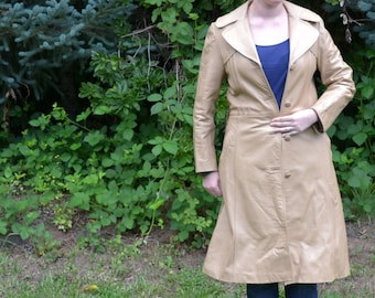 Long Vintage Leather Coat