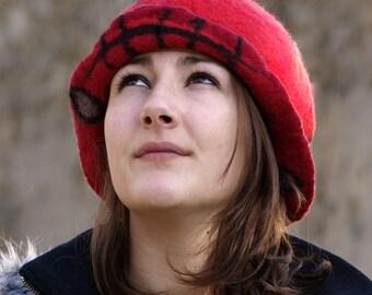 1920s Felt Hat Felted Hat Cloche hat 1920s hat Flapper Hat Red Hat Art Hat Art deco hat Retro hats Felt wearable art