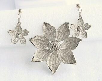 Silver Flower Pierced Earrings Brooch Set Vintage Antiqued Silvertone Dangle Drops