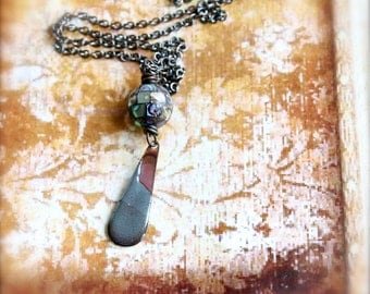 Dusty Blue Enamel Teardrop Pendant Necklace Rustic Copper Abalone Torch Fired Enamel Jewelry
