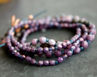 Purple Eggplant Strand Necklace Wrap Bracelet Hand-Knotted Lavender Glass Layering Bohemian Blue Linen Fiber Jewellery