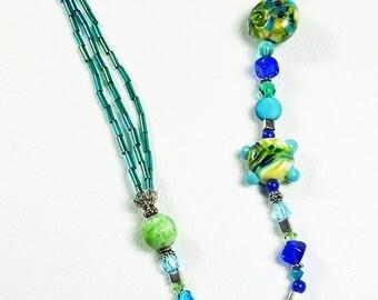 BirdDesigns Sterling Silver Lampwork Necklace - ooak - J576