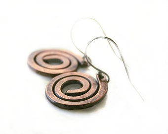Copper Spiral Earrings - Hammered Copper Earrings - Rustic Jewelry - Tribal Jewelry - Copper Anniversary Gift - Metalwork Jewelry