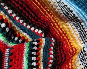 Blanket: crochet blanket pattern, afghan, multicolor Serape Stripe Blanket