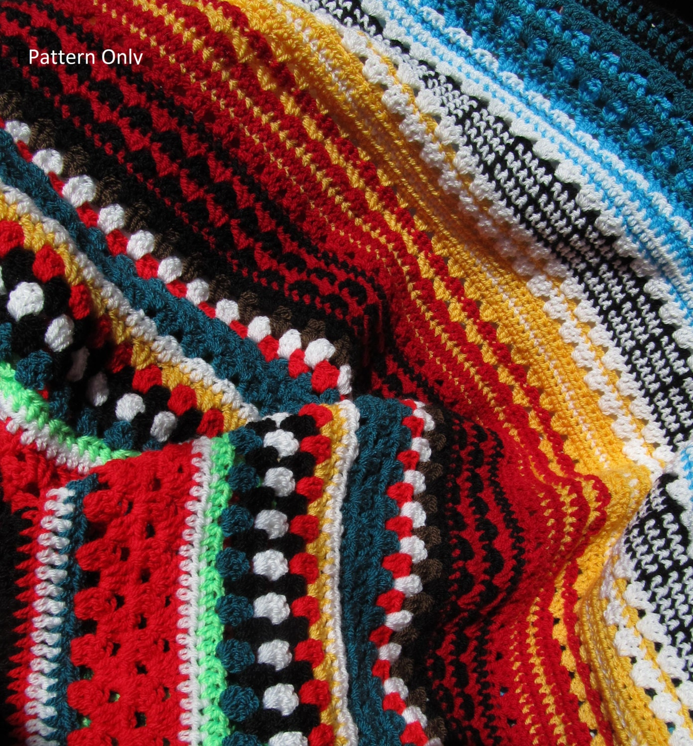 Crochet Afghan Patterns Stripes : crochet blanket pattern afghan multicolor Serape Stripe