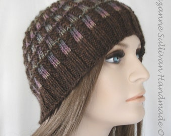 Intarsia Styled Beanie, Hand Knitted Multi Colored Beanie, Stained Glass Knitted Beanie, Chemo Cap