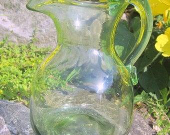 Hand Blown Art Green Glass Creamer Pitcher Vase Applied Handle Pontil Bottom