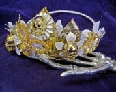 ON HOLD Balance Due: Skull Crown Flores Muertas Day of the Dead Skull Tiara Gold Skulls White Flowers Pearls Rhinestones Mexican Wedding