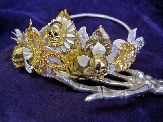 SKULL CROWN Flores Muertas Day of the Dead Skull Tiara Gold Skulls White Flowers Pearls Rhinestones Mexican Wedding Dead Bride Costume