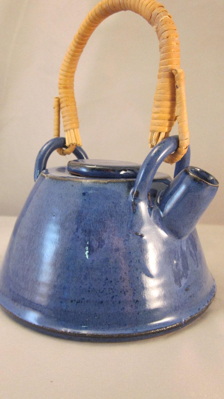 Japanese stoneware teapot indigo blue bamboo handle - Bamboo teapot handles ...