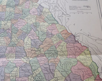 1887 State Map Georgia - Vintage Antique Map Great for Framing 100 Years Old
