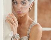 Tulle Birdcage Wedding Veil w/ 3D Rhinestone Comb