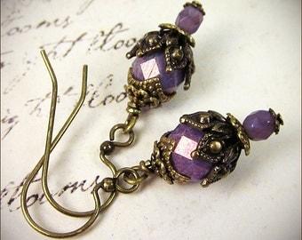 Orchid Earrings, Small Drop Earrings, Purple Bridesmaid, Orchid Bridesmaid, Renaissance Jewelry, Victorian Earrings, Ren Faire,  Rhiannon