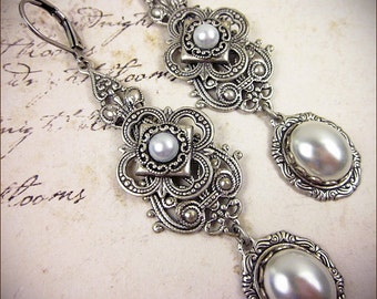 Medieval Earrings, White Pearl, Victorian Earrings, Bridal, Renaissance Earrings, Medieval, Tudor, Renaissance Jewelry, Avalon
