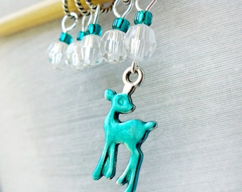 Teal Deer - Five Handmade Stitch Markers - 5.0 mm (8 US) - Limited Edition