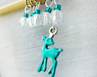 Teal Deer - Five Handmade Stitch Markers - 5.0mm (8 US) - Limited Edition