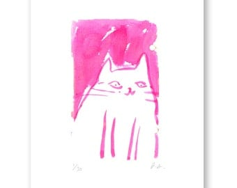 Pink Cat- Oslo- Cat Art- Watercolor Painting- Modern Home Decor- Cat Painting
