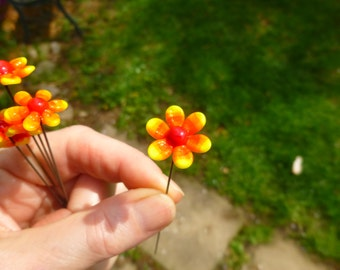 Fairy garden, small glass flower in warm colors (one), fairy garden supply, fairy garden accessory