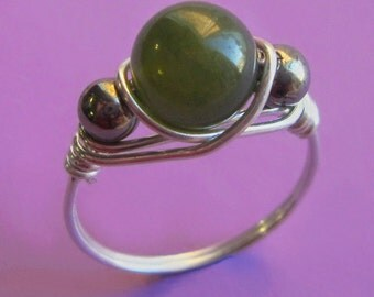 Sterling Silver Wire Wrapped B.C. Jade and Pyrite Ring