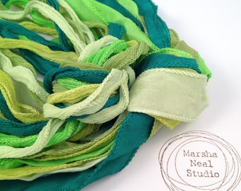 Hand Dyed Silk Ribbon - Silky Ribbon - Fairy Ribbon - Jewelry Supplies - Wrap Bracelet - Craft Supplies - Bright Greens Color Palette
