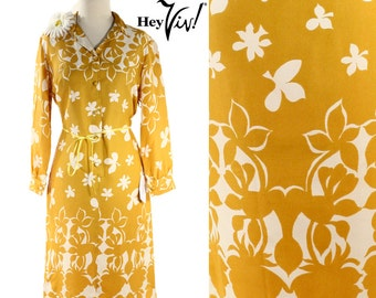 1960s 1970s Mod Shirt Dress - Bold Graphic Floral Print in Mustard Yellow & White Vintage Day Dress - size Medium