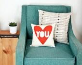 Love You - organic, hand printed 12x12 pillows