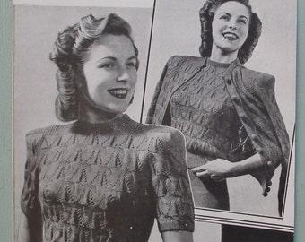 Vintage 1940s Knitting Pattern Womens Twin Set Jumper / Sweater Cardigan 40s original pattern Bestway No. 1763 UK - lacy design