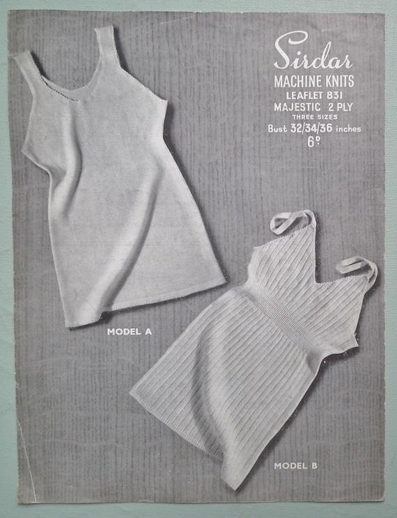 Underwear Knitting Machine : Vintage s machine knitting pattern womens vests underwear
