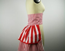 Red Striped Bustle, Back Bustle, Carnival Costume, Striped Costume, Womens Costume