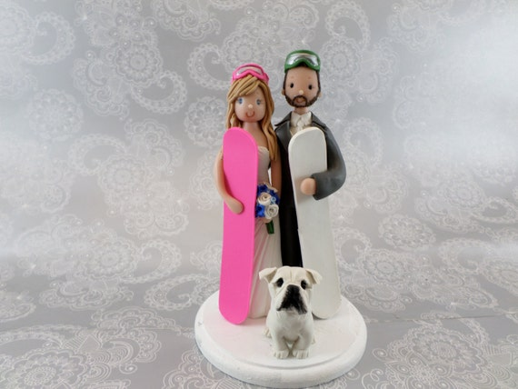 skiers wedding cake toppers custom made snowboard ski theme wedding cake topper 20178