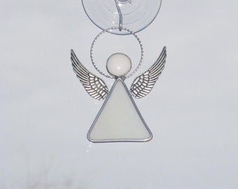 Little Stained Glass Angel Suncatcher in Wispy White -  FREE Shipping in the USA
