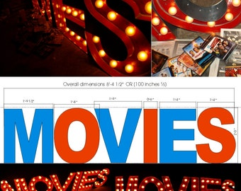 MOVIE THEATER Vintage Marquee Art  letter bulb channel 2ft X 2ft