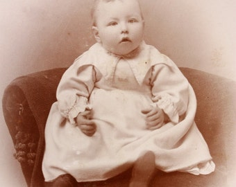 Antique Cabinet Card, vintage photograph, picture or portrait of a pudgy cheek little baby in white christening or baptism gown