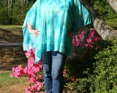 Turquoise Roses Tie-Dye Caftan, Tunic, Beach Cover Up