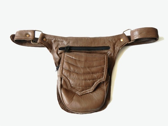 unisex leather utility belt taupe brown travel by