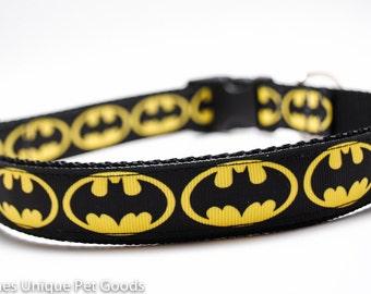 Batman Dog Collar - Buckle or Martingale Collar