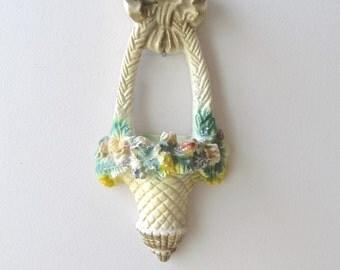 vintage chalkware wall pocket flower basket carnival prize big bow