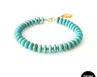 Gold Gemstone Bracelet - Magnesite - Turquoise, Gold - The Stoned: Heishi Leaf Dangle