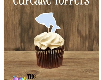 Beach Birthday Party - Set of 12 Dolphin Cupcake Toppers by The Birthday House