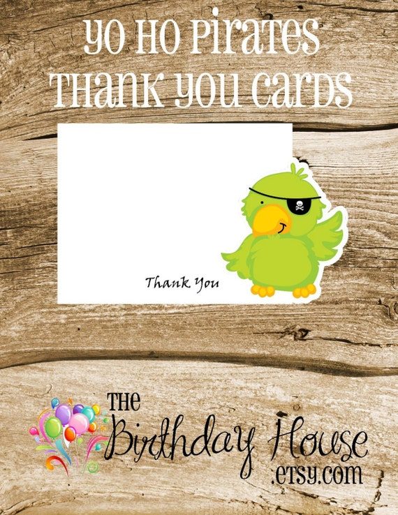 Yo Ho Pirate Party - Set of 8 Parrot Thank You Cards by The Birthday House