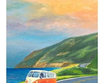 5x7 Greeting Card by Daina Scarola, Item #GC5X7-36 (orange VW van, Hwy 1, Cabot Trail)
